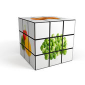 3d cube with photo over white background — Stock Photo