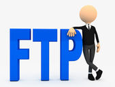 3d person near letters FTP over white background — Stock Photo