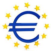 Euro sign over white background — Stock Photo