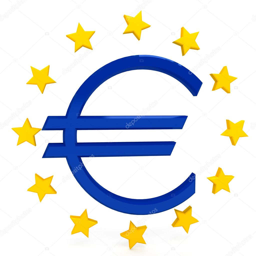Euro sign over white background. computer generated image — Stock Photo #10728063