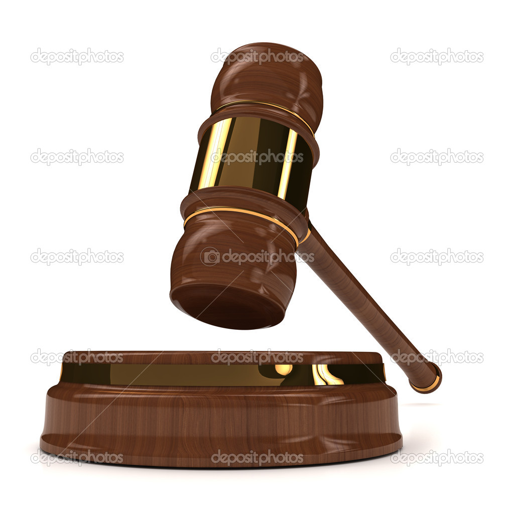 Rendered 3d wooden gavel on white. computer generated image — Stock Photo #8838424