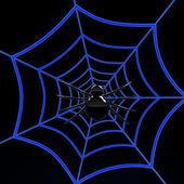 Black spider on blue web — Stock Photo