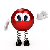 Cartoon red character greeting you — Stock Photo