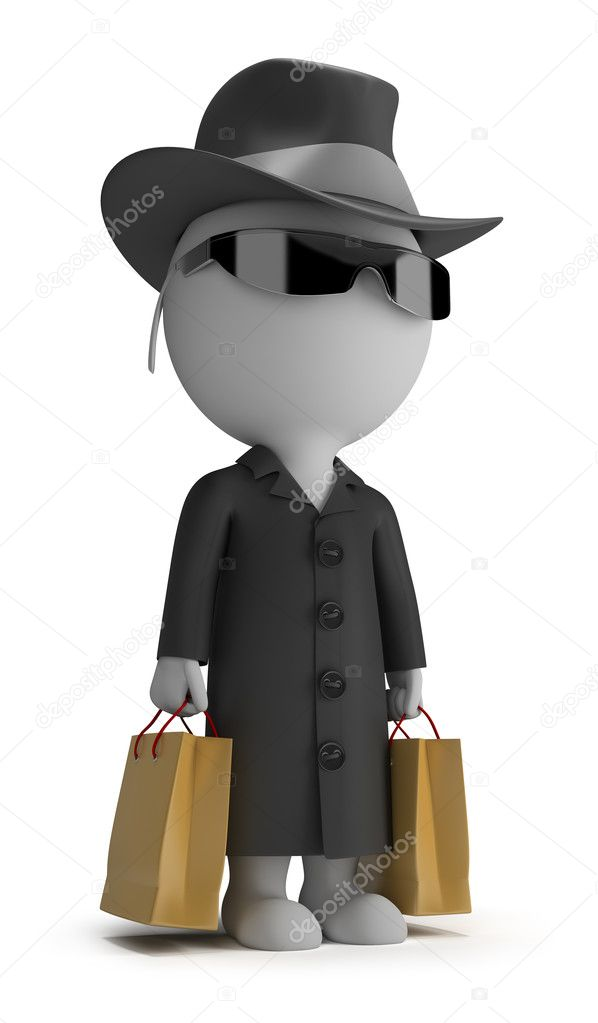 3d small person - mystery shopper in a black coat, sunglasses, hat, and with packages. 3d image. Isolated white background. — Stock Photo #10148891