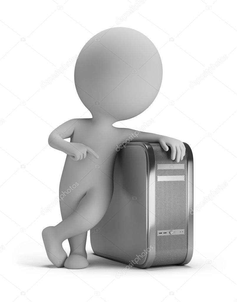 3d small person standing next to the computer. 3d image. Isolated white background. — Stock Photo #10148895