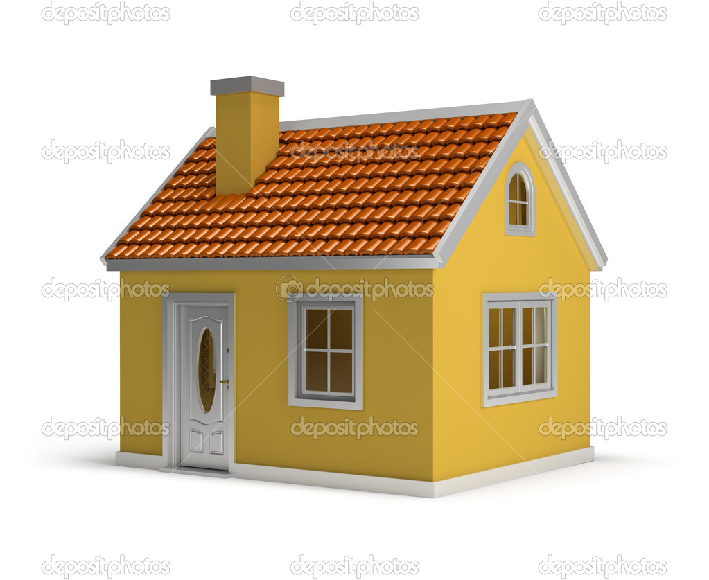 Yellow house. 3d image. Isolated white background. — Stock Photo #10148910