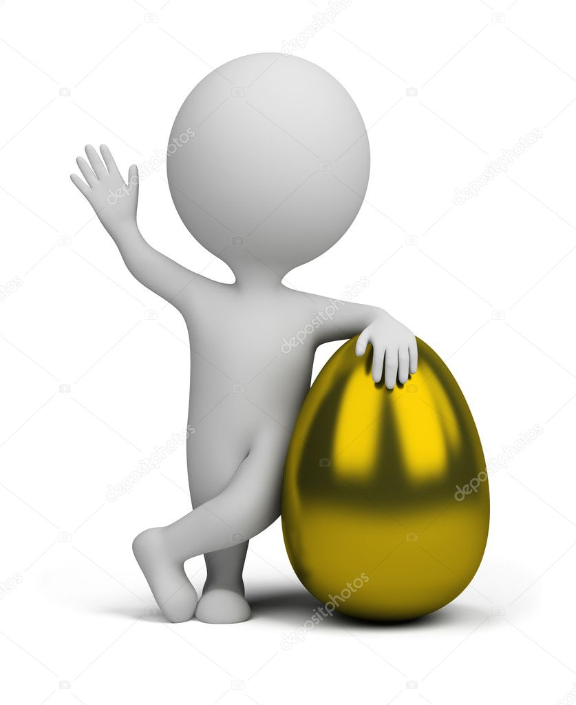 3d small person standing next to a golden egg. 3d image. Isolated white background. — Stock Photo #8751325