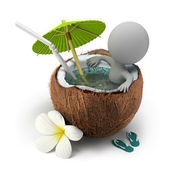 3d small - takes a bath coconut — Stock Photo