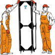 Two longshoremen in orange combinations hold a box — Image vectorielle