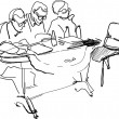 Постер, плакат: Teachers with glasses sitting at a desk