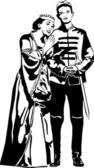 Skizze königin mutter umarmt den sohn des prinzen — Stockvektor