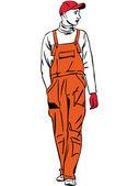 A worker is dressed in orange combination — Stock Vector