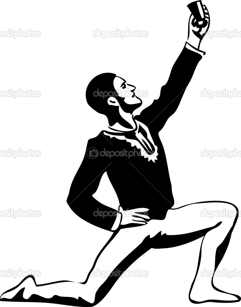 A sketch male ballet dancer standing in pose — Stock Vector #8353559