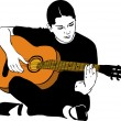 A girl playing on an acoustic guitar — Stock Vector
