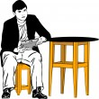 A guy sitting on a stool at the table — Imagen vectorial