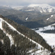 Tops of mountains Carpathians and valley in winter — Foto Stock