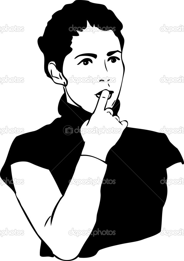 Sketch of girl with a finger in to the mouth — Stock Vector #9362157