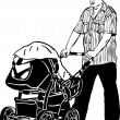 Sketch a dad spectacled rolls a child carriage — Stock Vector