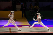Russia-Ukraine final match at 2012 World Fencing Championships — Foto de Stock