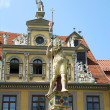 Ronald statue and Red Ox House, Erfurt, Germany — Stock Photo