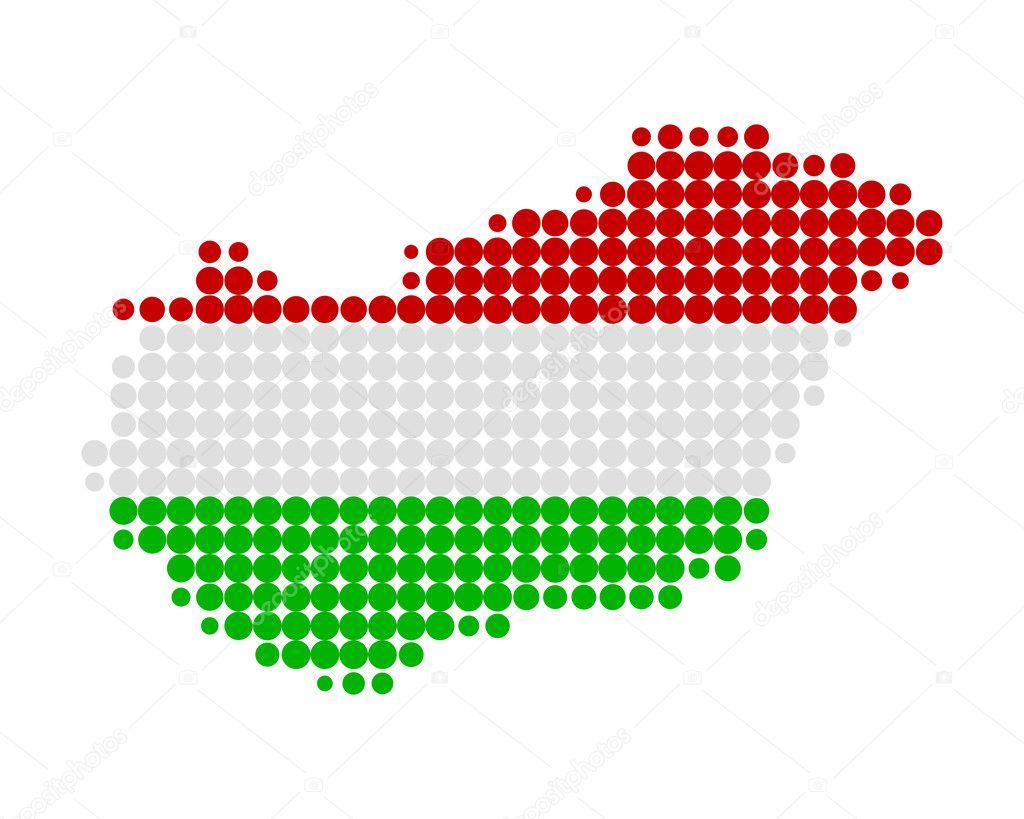 地图和国旗的匈牙利