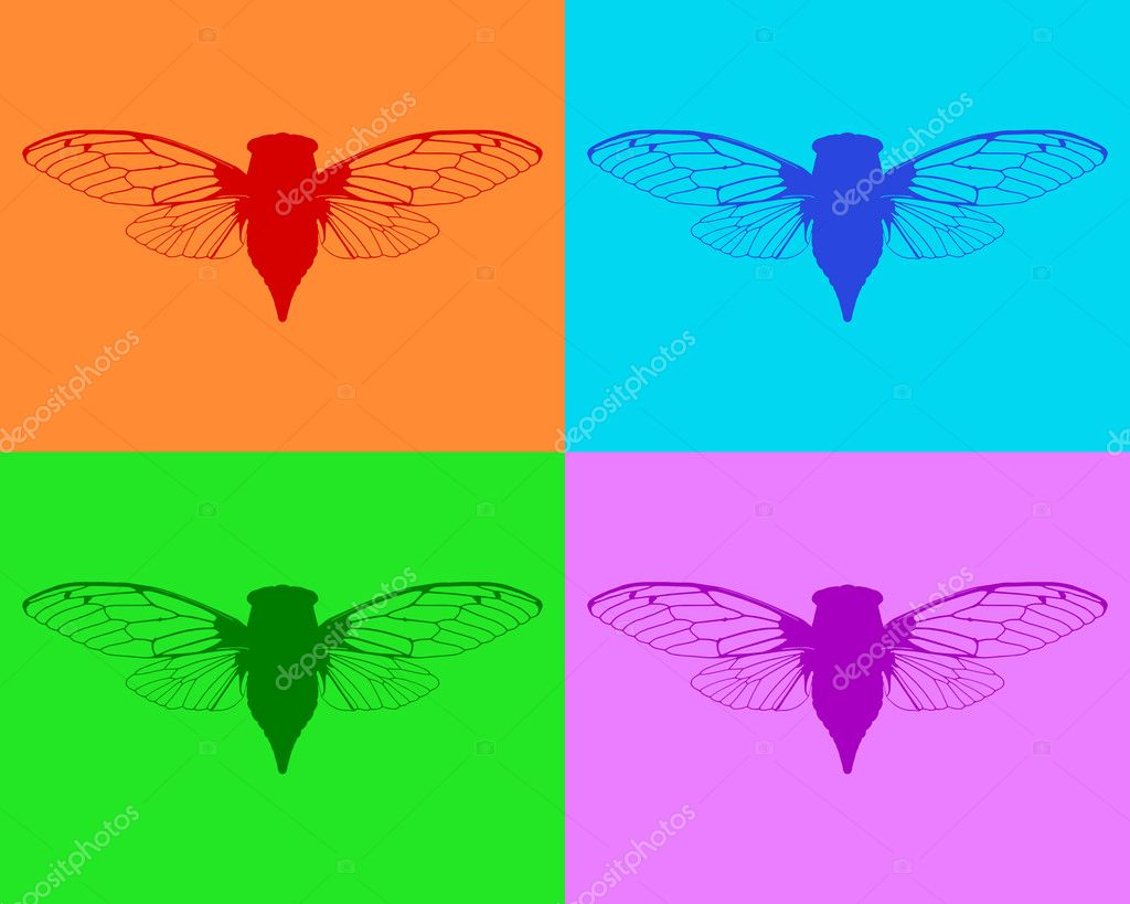 Beautiful cicadas — Stock Vector #9183347