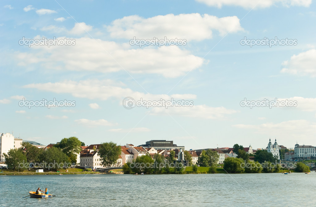 River Svisloch quay. Minsk, Belarus — Stock Photo #9480234
