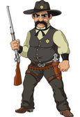 Vahşi batı. karikatür şerif — Stok Vektör
