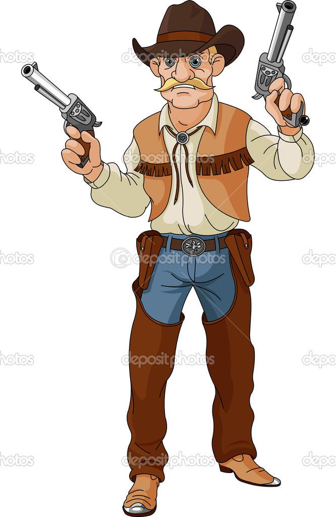 Wild west.  Cowboy getting ready for a shootout — Stock Vector #10112104
