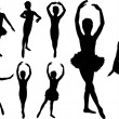 Ballet girls dancers silhouettes — Stock Vector