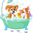 Stock Vector: Dog and Cat having a bath