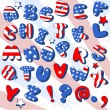 Patriotic Cartoon  font - Stock Vector