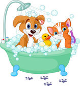 Cane e gatto avendo un bagno — Vettoriale Stock