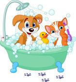 Perro y gato tomando un baño — Vector de stock