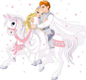 Romantic couple on white horse — Stock Vector