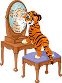 Tiger cub looking in the mirror — Stock Vector