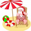 Santa Claus relaxing on the beach — Stock Vector