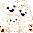 Big Polar bear family — Vector de stock