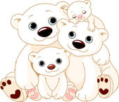 Big Polar bear family — Stock Vector
