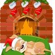Christmas puppy near fireplace — Stock Vector #8057387