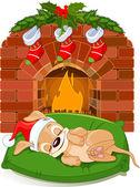Christmas puppy near fireplace — Stock Vector