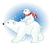 Polar Bear mom and baby — Vector de stock