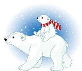 Bebé y la mamá oso polar — Vector de stock