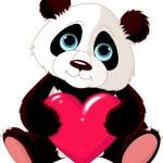 Cute Panda with heart — Stock Vector