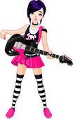 Guitarra tocando rock star chica — Vector de stock
