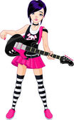 Rock star girl playing guitar — Vector de stock
