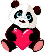 Cute Panda with heart — Stock Vector