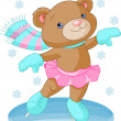 Cute bear girl on ice skates - Stock Vector