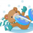 Stock Vector: Cute bear fell to ice rink