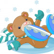 Cute bear fell to the ice rink — Stock Vector